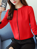 זול חולצה-אחיד עסקים / בסיסי חולצה - בגדי ריקוד נשים קפלים / טלאים שחור ואדום / שחור ולבן