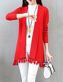 povoljno Majica-Žene Dnevno Osnovni Jednobojni Dugih rukava Duga Kardigan, V izrez Red / Sive boje / Žutomrk One-Size