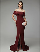 cheap Evening Dresses-Mermaid / Trumpet Off Shoulder Sweep / Brush Train Satin Vintage Inspired Formal Evening Dress with Split Front by TS Couture®