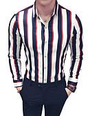 baratos Camisas Masculinas-Homens Camisa Social Estampa Colorida Colarinho Clássico Delgado / Manga Longa