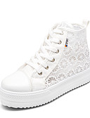 cheap Women-Women's Canvas Fall Comfort Sneakers Creepers Round Toe White / Black / Pink