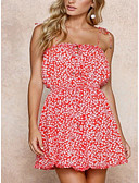 preiswerte Damen Kleider-Damen Boho Baumwolle Schlank Hose - Geometrisch / Schneeflocke Rückenfrei / mit Schnürung Rote / Mini / Gurt / Festtage / Sexy