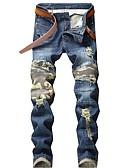 cheap Men's Pants & Shorts-Men's Street chic Jeans Pants - Camouflage Pleated / Hole / Patchwork