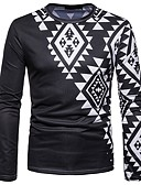 ieftine Tricou Bărbați-Bărbați Tricou Vintage / Boho - Geometric Imprimeu Alb negru
