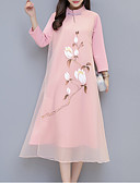 abordables Jerséis de Mujer-Mujer Tejido Oriental Camisa Vestido Floral / Tribal Midi