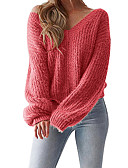 cheap Women's Sweaters-Women's Daily Solid Colored Long Sleeve Slim Regular Pullover, V Neck Fall / Winter Cotton Red / Yellow / Wine M / L / XL