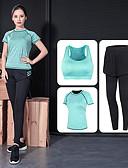 זול שמלות נשים-בגדי ריקוד נשים סקסית חליפת יוגה - אפור, ירוק, ורוד ספורט צבע אחיד גיזרה גבוהה יוגה, כושר וספורט, חדר כושר שרוולים קצרים לבוש אקטיבי סטרצ'י (נמתח)