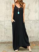 abordables Robes Maxi-Femme Plage Midi Ample Robe Couleur Pleine A Bretelles Eté Blanc Noir Violet M L XL Sans Manches