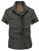 رخيصةأون قمصان رجالي-رجالي قميص لون سادة أخضر داكن XXXL / كم قصير