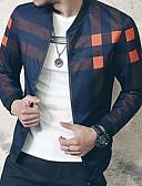 お買い得  メンズTシャツ&タンクトップ-男性用 日常 ストリートファッション レギュラー ジャケット, 現代風 ラウンドネック 長袖 ポリエステル ルビーレッド / ネイビーブルー XXXL / 4XL / XXXXXL