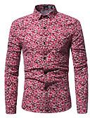 お買い得  メンズシャツ-男性用 プラスサイズ シャツ ベーシック スリム フラワー コットン ブルー XL / 長袖