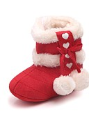 tanie Casualowe sukienki-Dla dziewczynek Obuwie Bawełna / Sztuczne futro Zima / Jesień i zima Buciki dla noworodków / Śniegowce Botki Tasiemka / Pom-pom na Dziecko Czerwony / Różowy / Migdałowy / Impreza / bankiet