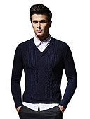 cheap Men's Sweaters & Cardigans-Men's Daily Basic Solid Colored Long Sleeve Slim Regular Pullover, Round Neck Navy Blue L / XL / XXL