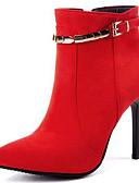 זול שמלות במידות גדולות-בגדי ריקוד נשים סוויד קיץ & אביב מגפיים מגפיים עקב סטילטו בוהן מחודדת מגפונים\מגף קרסול אבזם שחור / אדום / חתונה