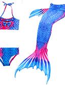 billige Badetøj til piger-Børn Pige Aktiv Sød Stil Havfruehale Farveblok Uden ærmer Badetøj Blå