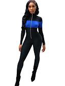 cheap Casual Dresses-women's jumpsuit - color block wide leg stand