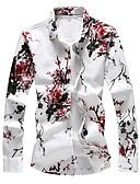 levne Pánské košile-Pánské - Květinový Základní Větší velikosti Košile, Tisk Bavlna Štíhlý Rubínově červená XXXXL / Dlouhý rukáv