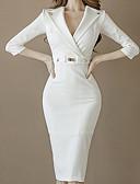 preiswerte Bedruckte Kleider-Damen Arbeit Grundlegend Schlank Bodycon Kleid Solide Knielang Hemdkragen