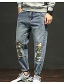 ieftine Pantaloni Bărbați si Pantaloni Scurți-Bărbați De Bază Mărime Plus Size Bumbac Zvelt Pantaloni Chinos Pantaloni - Mată Găurite Albastru piscină