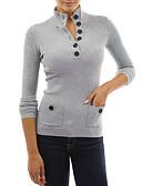 זול סוודרים לנשים-אחיד בסיסי / סגנון רחוב טישרט - בגדי ריקוד נשים