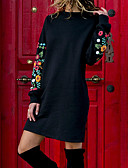 cheap Evening Dresses-Women's Daily / Going out Basic / Street chic Shift Dress - Solid Colored Print Fall Black M L XL / Sexy