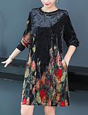 ieftine Rochii Casual-Pentru femei Șic Stradă / Elegant Mărime Plus Size Catifea Larg Pantaloni - Bloc Culoare Imprimeu Negru / Ieșire