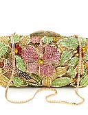 billige Aftenkjoler-Dame Krystalldetaljer / Uthult Legering Clutchveske Rhinestone Crystal Evening Bags Blomstermønster Gull / Høst vinter
