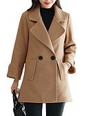 cheap Women's Dresses-Women's Daily Regular Coat, Solid Colored Shirt Collar Long Sleeve Polyester Green / Beige / Camel L / XL / XXL