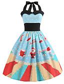 ieftine Bluză-Pentru femei Vintage / Elegant Swing Rochie - Imprimeu, Geometric Lungime Genunchi