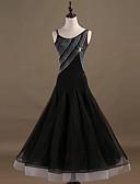 olcso Print Dresses-Társastánc Ruhák Női Teljesítmény Spandex / Organza Kristályok / Strasszok Ujjatlan Ruha
