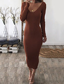cheap Maxi Dresses-Women's Going out Elegant Maxi Slim Shift Dress - Solid Colored Backless V Neck Fall Brown Black M L XL / Sexy