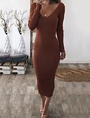levne Maxi šaty-Dámské Jdeme ven Elegantní Štíhlý Shift Šaty - Jednobarevné, Volná záda Maxi Do V / Sexy