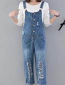tanie Damskie spodnie-Damskie Podstawowy Kombinezon Spodnie - Solidne kolory Niebieski