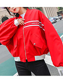 cheap Women's Down & Parkas-Women's Going out Regular Jacket, Color Block / Letter Round Neck Long Sleeve Polyester White / Black / Red M / L / XL