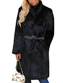 cheap Women's Fur & Faux Fur Coats-Women's Holiday Street chic / Sophisticated Plus Size Fur Coat - Solid Colored Stand