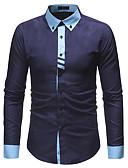 رخيصةأون سترات و بدلات الرجال-رجالي قطن قميص الأعمال التجارية ألوان متناوبة, عمل / كم طويل