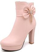 Недорогие Праздничные платья-Жен. Ботинки Fashion Boots На толстом каблуке Закрытый мыс Микроволокно Ботинки Осень Белый / Черный / Розовый