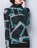 ieftine Tricou-Pentru femei Guler Pe Gât Tricou Ieșire Bloc Culoare / Zvelt
