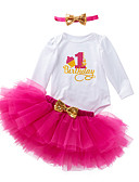 cheap Baby Girls' Clothing Sets-Baby Girls' Active / Basic Daily / Holiday Print Mesh Long Sleeve Regular Regular Cotton Clothing Set Purple