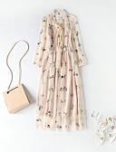 cheap Women's Dresses-Women's Floral Party / Going out Puff Sleeve Maxi Loose Swing Dress - Floral Bow / Ruffle / Embroidered Crew Neck Spring Pink M L XL