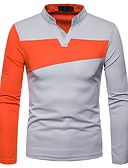 hesapli Erkek Kapşonluları ve Svetşörtleri-Erkek V Yaka Tişört / Polo Zıt Renkli Siyah / Uzun Kollu