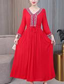 tanie Sukienki w rozmiarach plus-Damskie Vintage / Podstawowy Puszysta Bawełna Szczupła Spodnie - Geometric Shape Nadruk Czerwony / Maxi / W serek / Wyjściowe