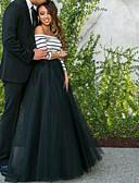 preiswerte Unterröcke für Hochzeitskleider-Damen Schlank Hose - Solide Schwarz & Weiß Schwarz / Party / Maxi / Schulterfrei / Festtage