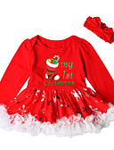 cheap Mother of the Bride Dresses-Baby Girls' Active / Basic Christmas / Party / Birthday Print Long Sleeve Above Knee Cotton / Polyester Dress Red 2-3 Years(100cm)