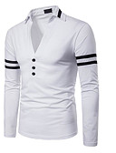 cheap Men's Hoodies & Sweatshirts-Men's Slim Polo - Color Block Shirt Collar / Long Sleeve