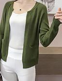 ieftine Bluză-Pentru femei Muncă De Bază Mată Manșon Lung Regular Cardigan, Rotund Camel / Galben / Verde Militar Mărime unică