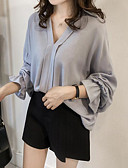cheap Women's Blouses-women's going out slim blouse - solid colored v neck