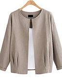 cheap Women's Blazers & Jackets-Women's Daily / Going out Basic / Sophisticated Spring / Fall & Winter Plus Size Short Jacket, Solid Colored Round Neck Long Sleeve Polyester White / Black / Khaki XXL / XXXL / 4XL