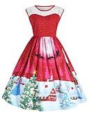 abordables Vestidos de Mujer-Mujer Vintage / Elegante Corte Swing Vestido - Estampado, Bloques Hasta la Rodilla