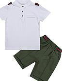 billige Jakker og frakker til drenge-Børn Drenge Basale Daglig Ensfarvet Kortærmet Normal Normal Polyester Tøjsæt Hvid